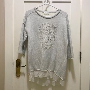 Zara W&B Collection Skull Tunic Sweatshirt